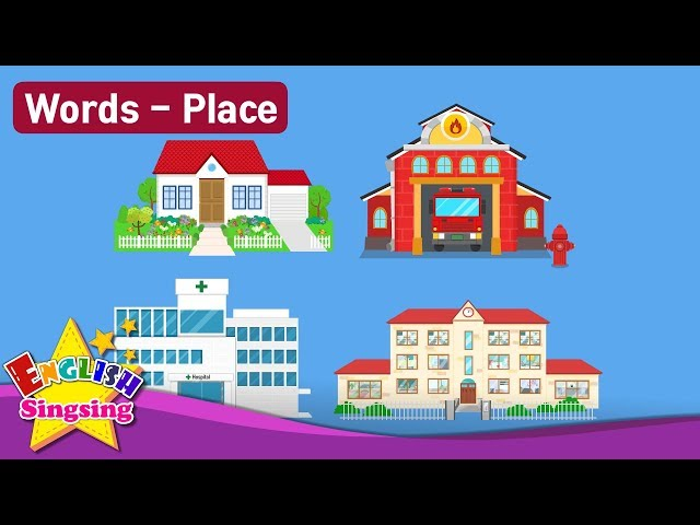 """Kids vocabulary Theme """"Place"""" - House, Fire Station, Hospital, School  - Words Theme collection"""