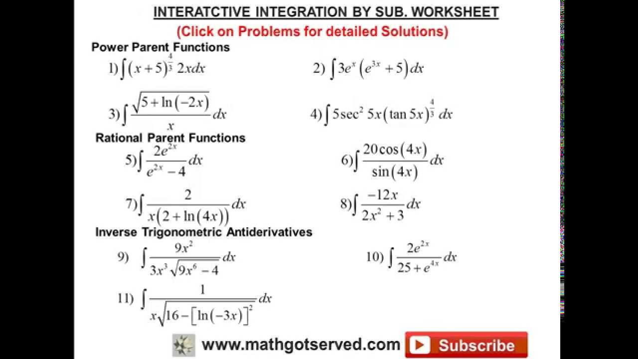 Integration By U Substitution Interactive Worksheet Youtube