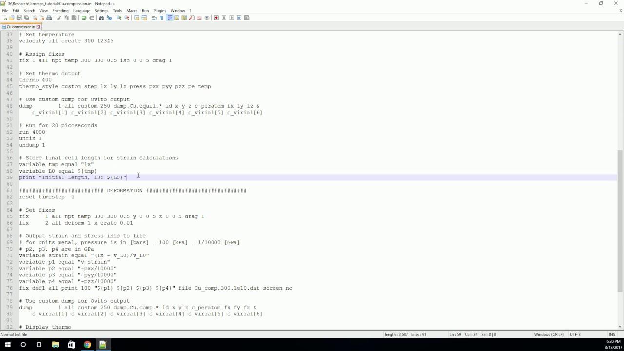 The LAMMPS Input Script - Part 2