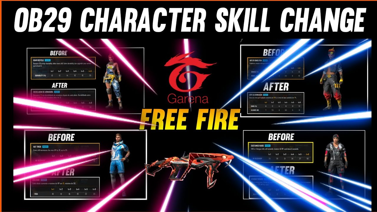 Free Fire Character Skill Change    OB29 update free fire    New Update