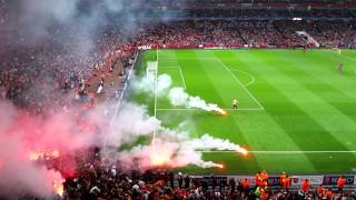 Arsenal v galatasaray flares going off 1/10/14