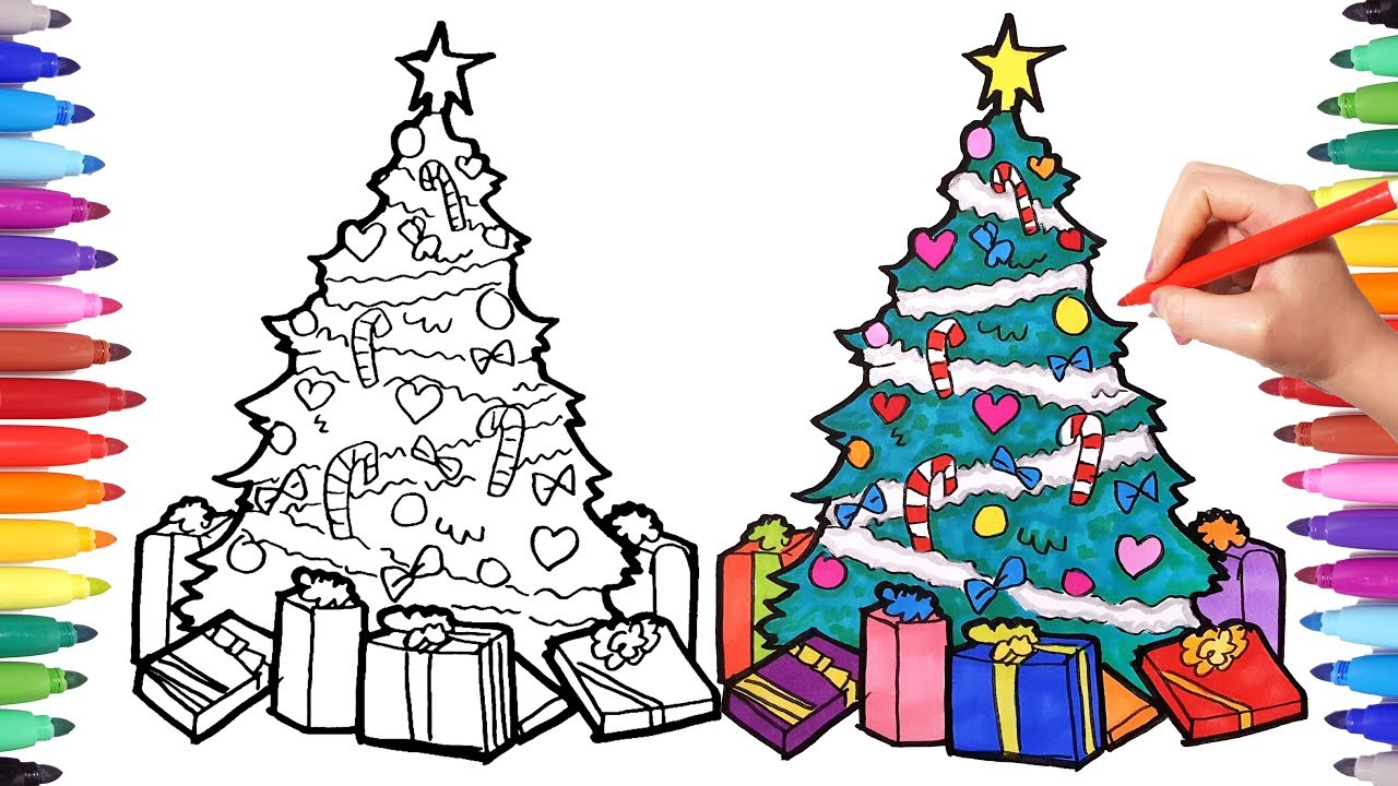 how to draw a christmas tree | drawing and coloring christmas tree