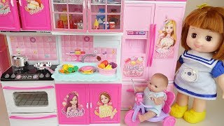 Baby doll kitchen food cooking and surprise eggs toys play