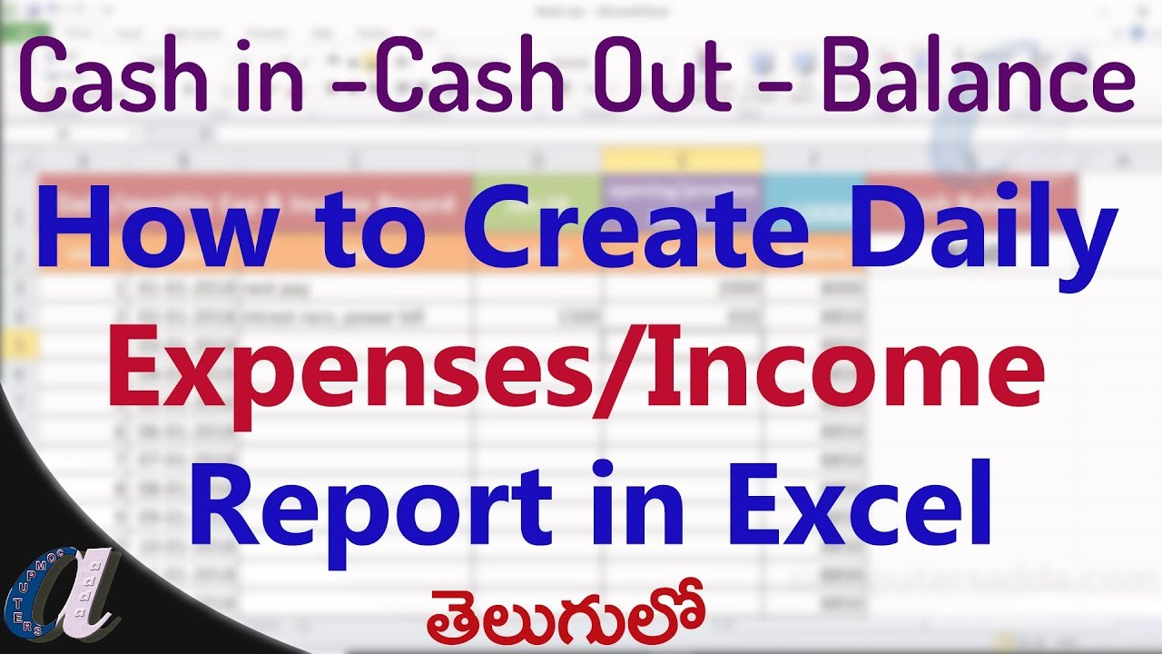 how to create daily expenses incomes report in ms excel