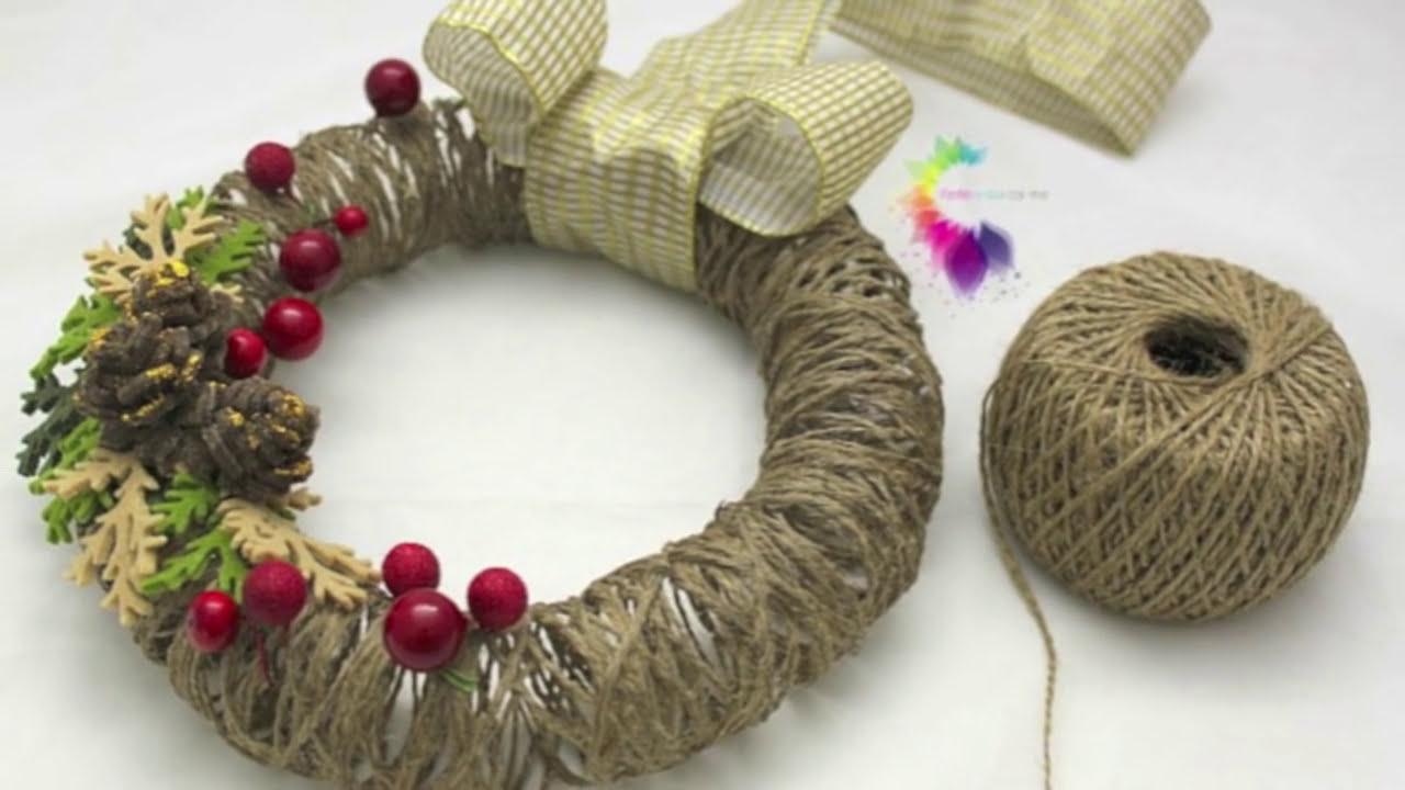 ghirlanda natalizia fai da te con spago-christmas wreath diy-ft