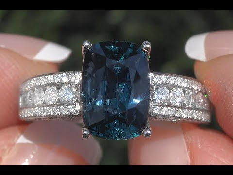 GIA Certified Blue Spinel & Diamond Cocktail Engagement Ring 18k Gold 4.19 TCW - C1094