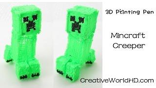 3Doodler Minecraft Creeper 3D - How to Tutorial 3D Printing Pen-DIY Scribbler