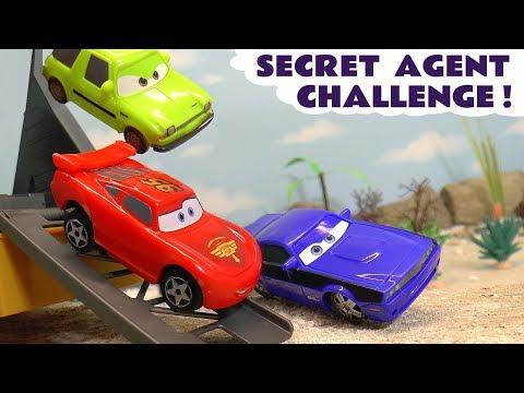 Cars 2 Hot Wheels Secret Agent Race Off with Pixar McQueen and Marvel Avengers DC Comics Superheroes