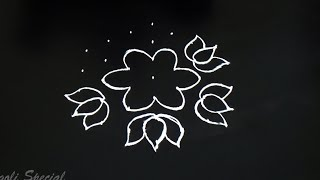Simple lotus border rangoli with 7X4 middle dots | easy color kolam  | simple muggulu with colors