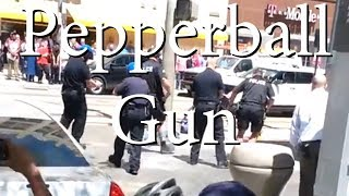 Police Use Pepper Ball Gun on Man With Pipe