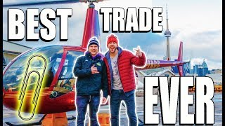 Trading A Paperclip For A Helicopter!! (WITH A FAN)