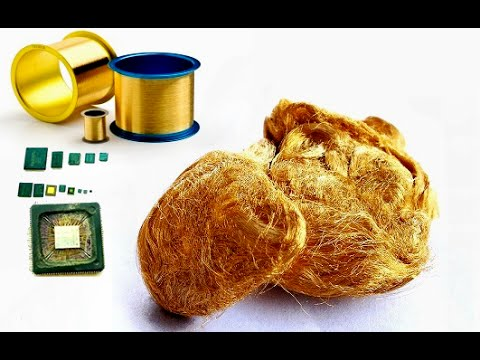 Gold wire bond from IC gold Electronic Waste hidden video clip. Gold Recycle wire bond.