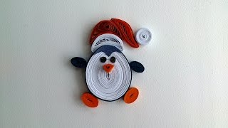 Quilling Christmas decoration: make quilling Christmas penguin magnet.