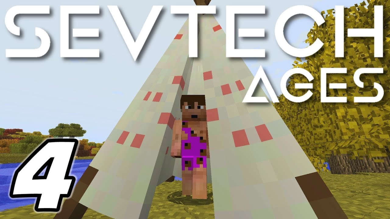 Minecraft Sevtech: Ages - LEATHER, THATCH and TEEPEE (Modded Survival) -  Ep  4