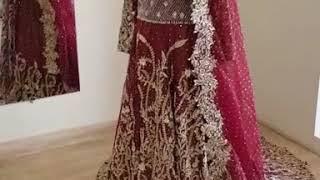 Pakistani Red bridal designer Trail Gown Valima Anarkali