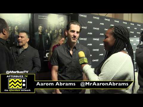 Nakia Monet interviews Aaron Abrams at Crackle's The Oath premiere 2018