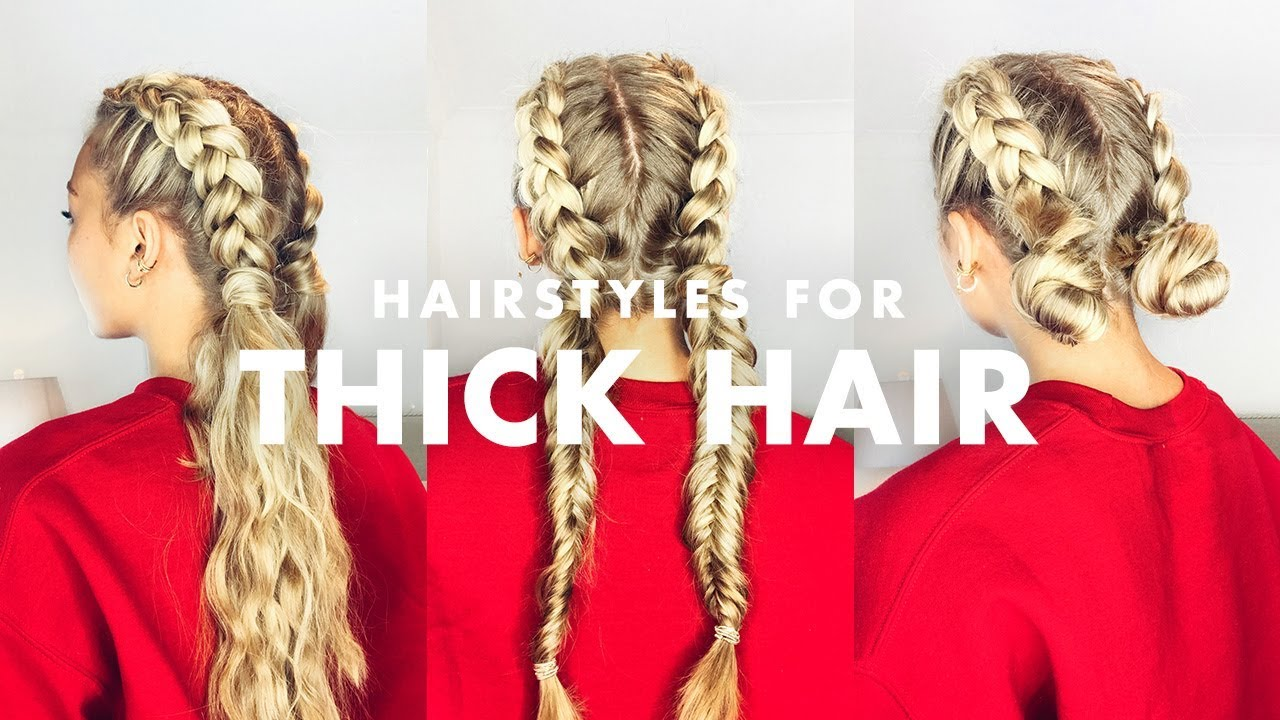 styles for thick long hair how to deal with thick hair three easy hairstyles 4756 | maxresdefault