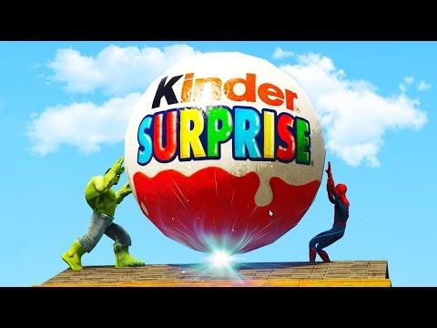 Халк и Человек паук нашели Гигантский киндер сюрприз - Hulk арестован - Мультфильм для детей