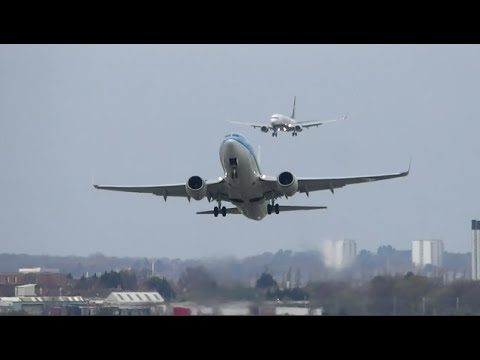 Birmingham Airport BHX Crosswind Landings and Takeoffs 12/04/2015
