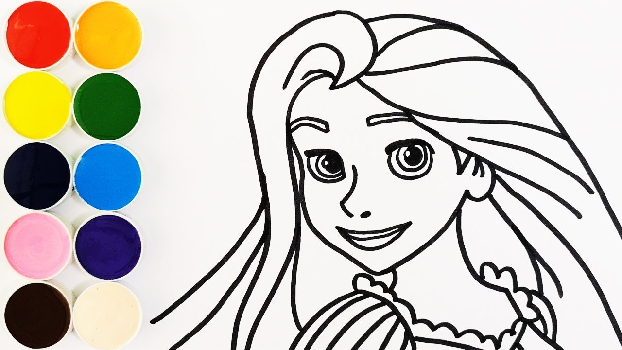 Como Dibujar Y Colorear A Rapunzel De Arco Iris Dibujos Para Niños Learn Colors Kids Funkeep