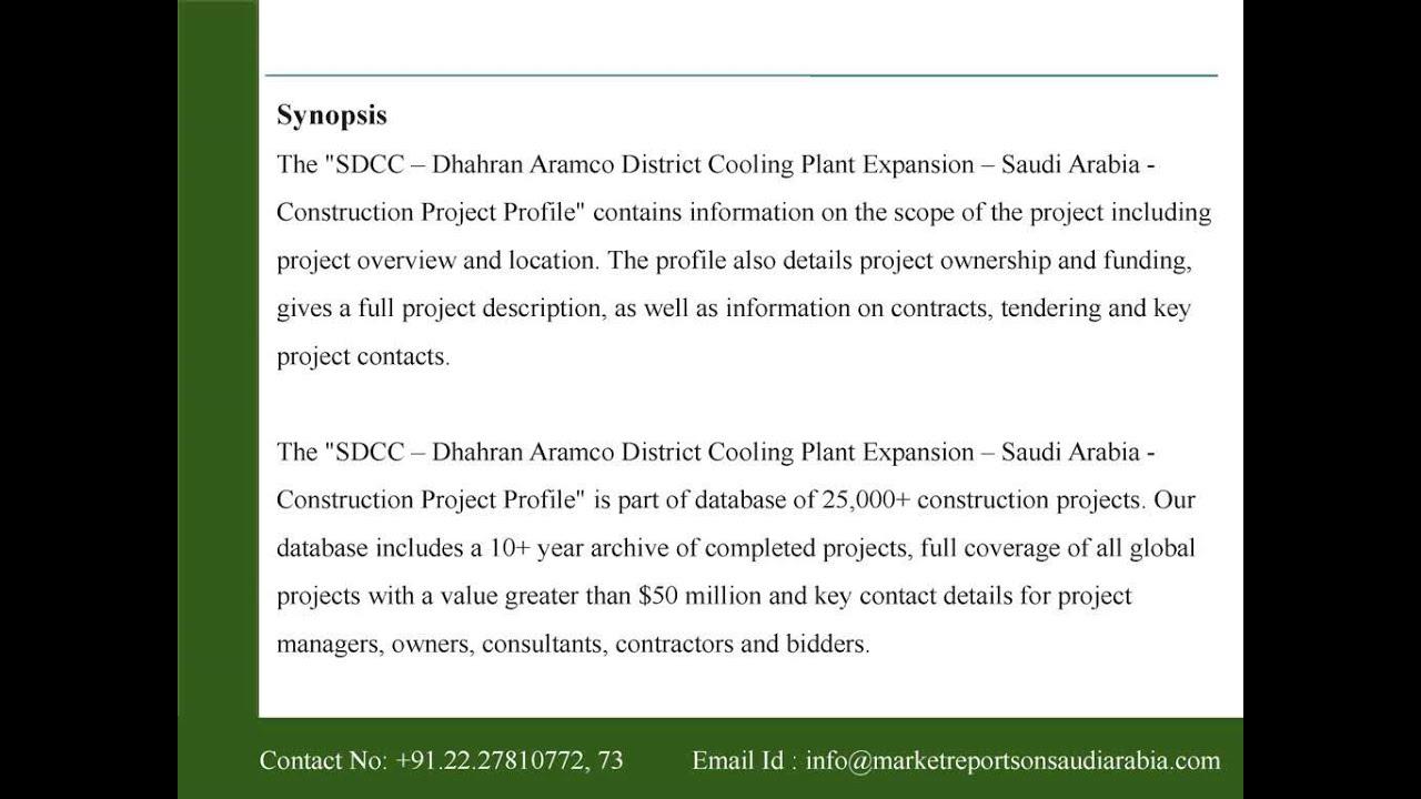 SDCC - Dhahran Aramco District Cooling Plant Expansion - Saudi Arabia -  Construction Project Profile