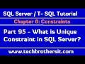 What is Unique Constraint in SQL Server - SQL Server / TSQL Tutorial Part 95