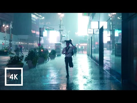 Walking in Heavy Thunderstorm at Night in NYC (Umbrella Binaural 3D Rain Sounds) ASMR 4K