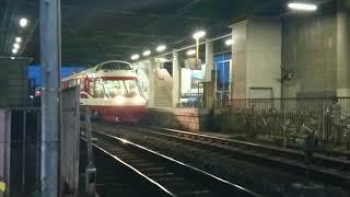 本郷駅から長野駅へ向かう、19時台の長野電鉄1000系特急「ゆけむり」。(電笛有り)