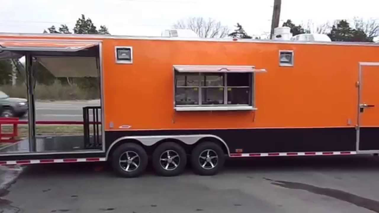 85 X 40 Orange Gooseneck Enclosed Food Concession Trailer