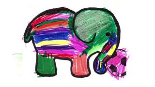 El pequeño y gran elefante juega con la pelota mágica