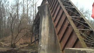 Mather Mine Fallen Railroad Bridge.  Mather, PA,  Abandoned railroad bridge