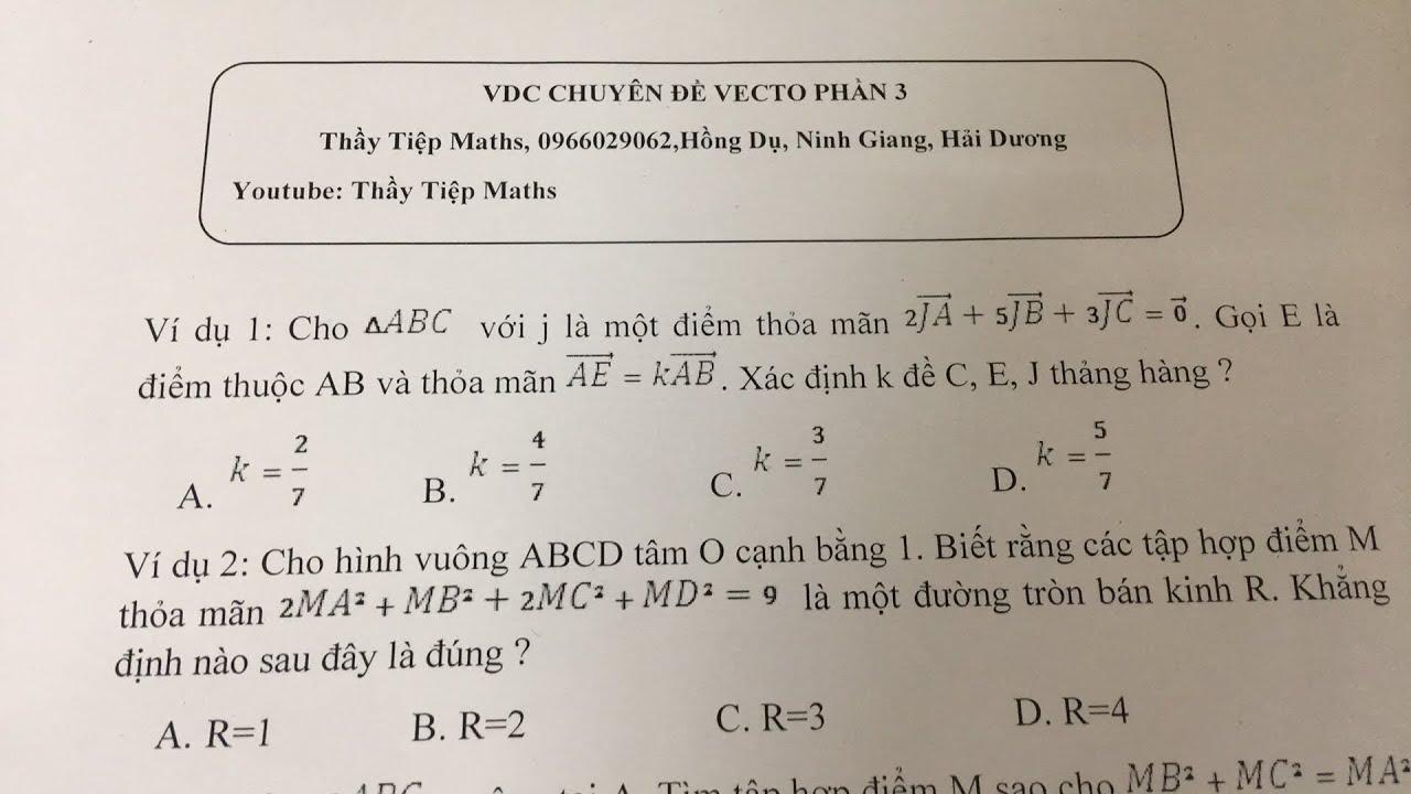 VDC chuyên đề Véc Tơ phần 3