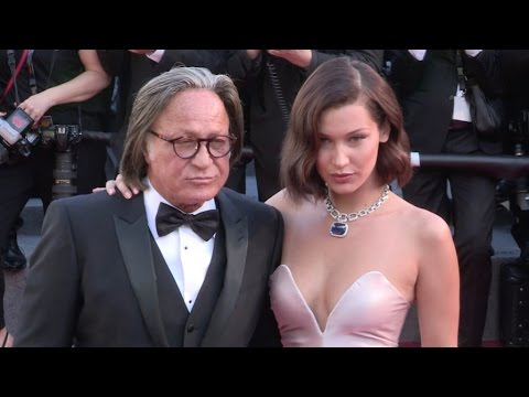 Bella Hadid and Mohamed Hadid on the red carpet for the Opening Ceremony of the Cannes Film Festival