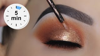 EASY 5 MINUTE Bronze Eye Makeup Tutorial