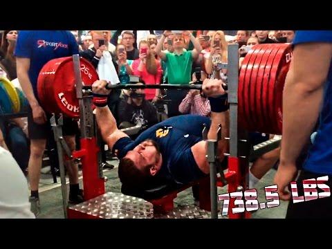 Kirill Sarychev 335 kg(738.5lbs) RAW Bench Press World Record 2015
