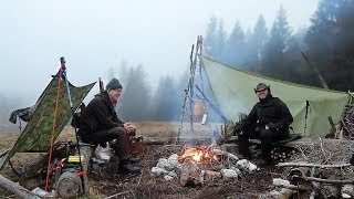 Cold Mountain Overnighter with Bushcraft and High-Tech Gear