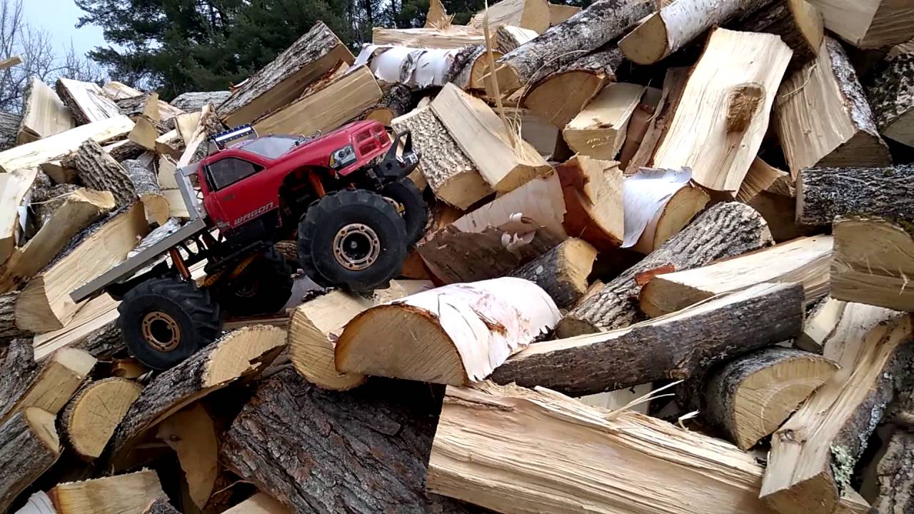 Dodge Ram Flatbed Axial Scx10 Rock Crawler On The Woodpile