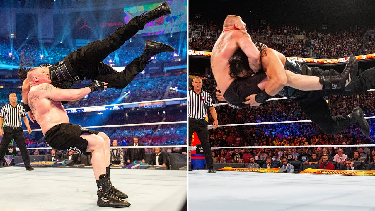 Download Brock Lesnar and Roman Reigns trade thunderous F-5s and massive Spears