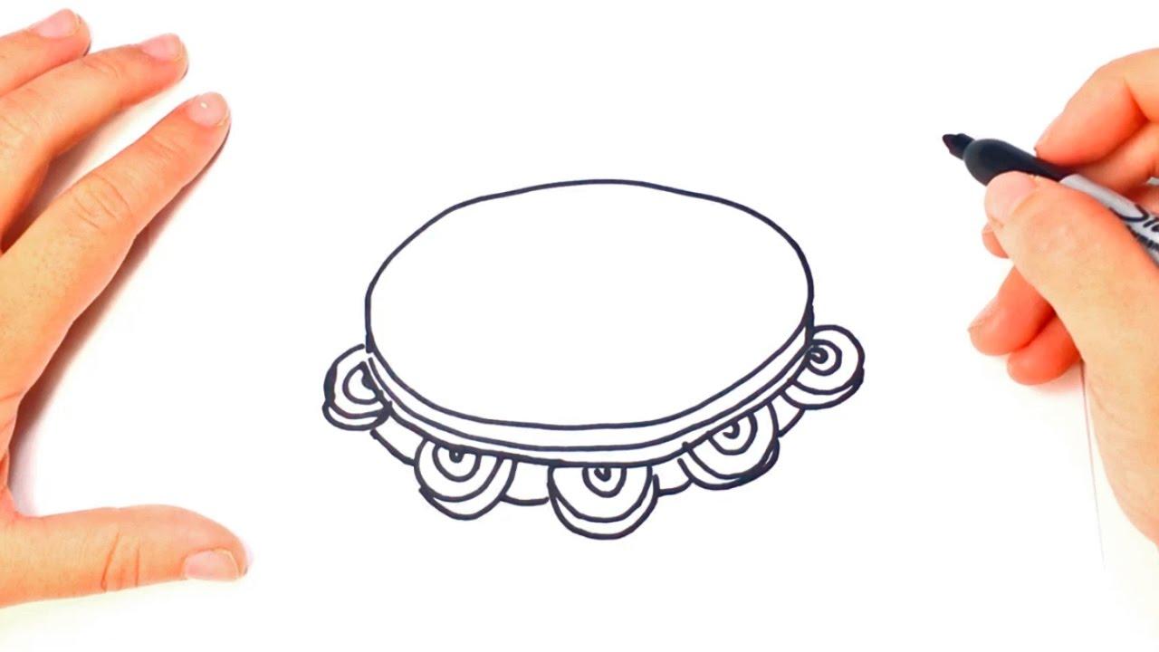 Como Dibujar Un Pandereta Paso A Paso Dibujo Facil De Pandereta