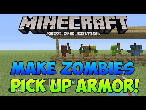 Minecraft Xbox/Ps How to get Mobs to Wear Armor and Pick up Weapons!