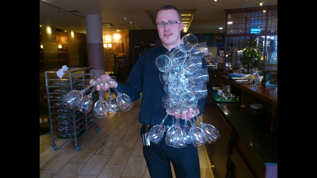 How To Carry 24 Wine Glasses Only One Hand Youtube