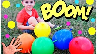 5 Mega Balloons for Learning Colors - Daddy Finger Song, Nursery Rhymes for Kids