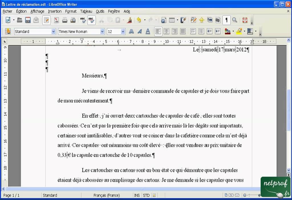 Libroffice Writer   écrire une lettre   08   Corriger et finaliser