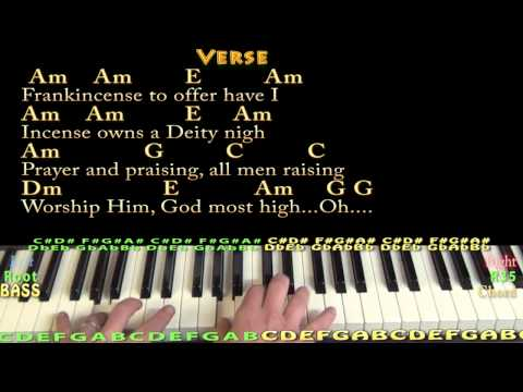 We Three Kings (Christmas) Piano Cover Lesson in Am with Chords/Lyrics