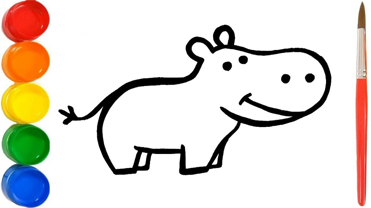 wie zeichnet man ein nilpferd  hippo malbuch für kinder