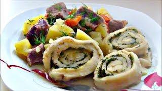Жаркое с чесночными рулетиками / Нудли ( Штрудли ) с мясом и картошкой