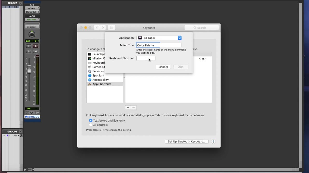 Custom Pro Tools Shortcuts For Mac
