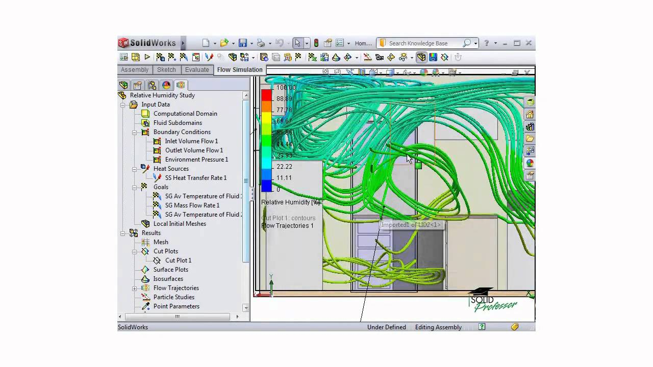 solidworks flow simulation tutorial - analyzing results - flow