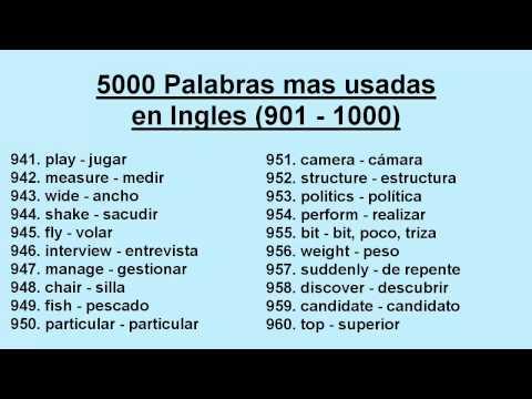 Las 1000 Palabras Mas Usadas En Ingles