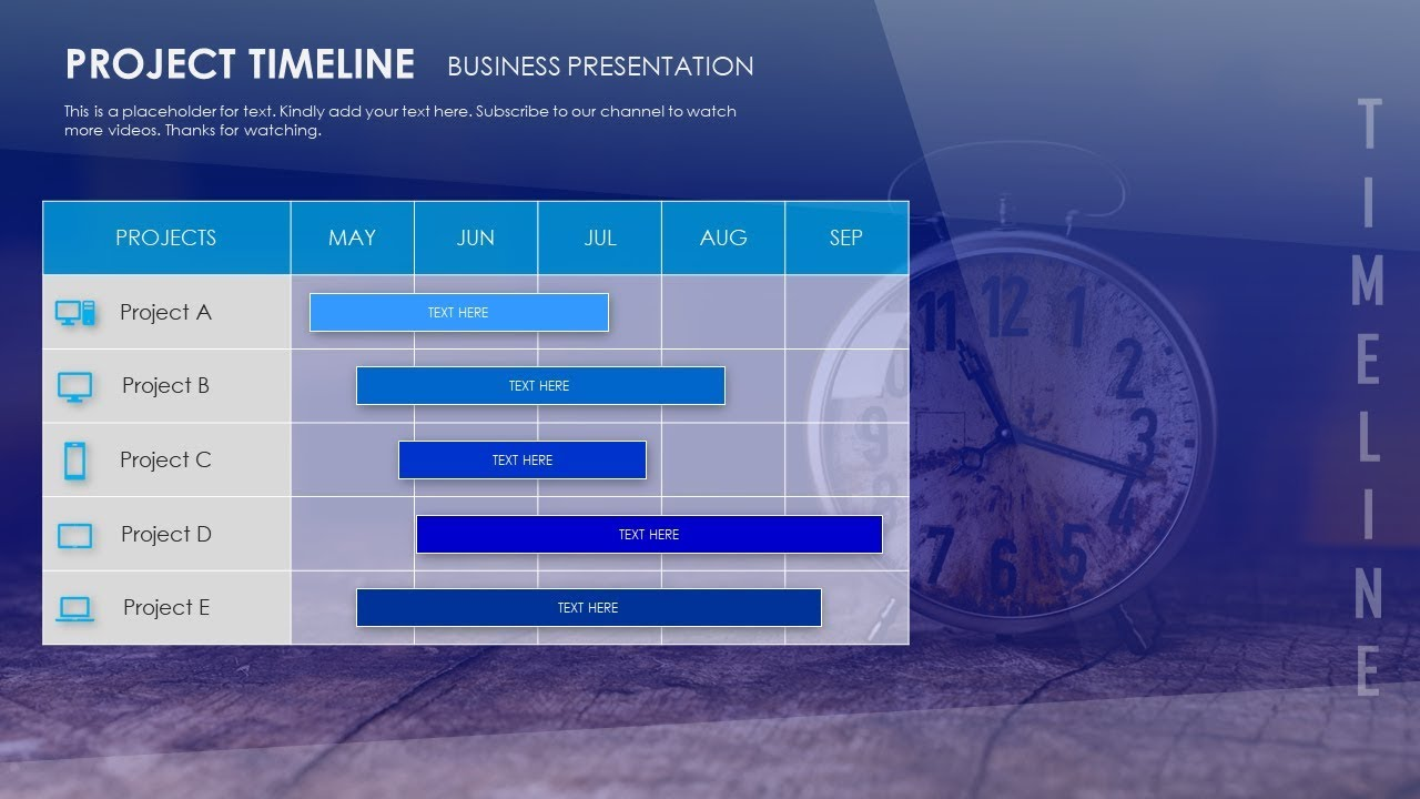 how to create project timeline table presentation slide in microsoft